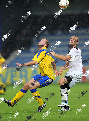 2011-08-04 / Voetbal / season 2011-2012 / Uefa Europa League, third qualifying round / KVC Westerlo - BSC Young Boys / Wouter Corstjens (L, West) with Marco Schneuwly..Foto: mpics