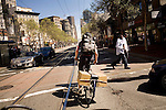 Brandon McGee rides on Market Street during a coffee delivery to SOMA (South of Market), in San Franicsco, Ca., on Monday, April 4, 2011. Bicycle Coffee Company is a San Francisco start-up taking green to a new level, by delivering hand-roasted coffee to over 100 local businesses, in addition to Whole Foods, by bicycle only. .Lianne Milton for The Wall Street Journal.Bay Area - Coffee Status