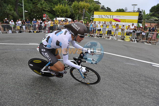 AG2R team rider Hubert Dupont (FRA) rounds the hairpin during the Prologue Stage 1 of the 2009 Tour de France a 15.5km individual time trial held around Monaco. 4th July 2009 (Photo by Eoin Clarke/NEWSFILE)