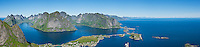 Panoramic view from summit of Reinebring over Reine and surrounding islands, Lofoten islands, Norway
