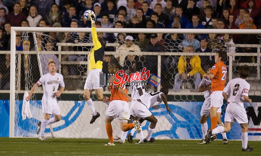 Brian Edwards (1) of the Wake Forest Demon Deacons makes a save during semi-final action of the 2007 NCAA Men's College Cup versus the Virginia Tech Hokies at SAS Soccer Park in Cary, NC, Friday, December 14, 2007.  The Demon Deacons defeated the Hokies 2-0 to advance to the finals versus Ohio State.