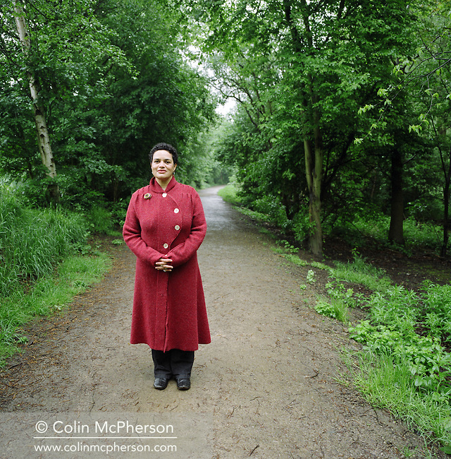 Writer and poet Jackie Kay, photographed near her home in Manchester, England. Jackie Kay is a Nigerian-born Scot who has published several volumes of poetry and appears regularly at international literary events.