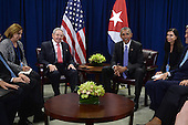 United States President Barack Obama, right, attends a bilateral meeting with President Raul Castro, left, of Cuba at the United Nations Headquarters, New York, New York, on September 29, 2015.<br /> Credit: Anthony Behar / Pool via CNP