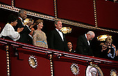(L-R) Actors Ruby Dee and Ossie Davis join U.S. first lady Laura Bush, United States President George W. Bush, Vice President Dick Cheney and wife Lynne Cheney in the presidential box at the Kennedy Center December 5, 2004 in Washington, DC. Six honorees were saluted for their lifetime contributions to American culture through the performing arts..Credit: Win McNamee - Pool via CNP