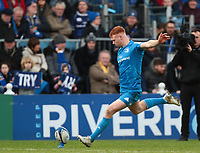 12th January 2020; RDS Arena, Dublin, Leinster, Ireland; Heineken Champions Champions Cup Rugby, Leinster versus Lyon Olympique Universitaire; Ciaran Frawley (Leinster) converts a try - Editorial Use