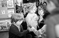 Milk break when free bottles of milk are handed out to the kids, Julian's Primary School, Streatham, London.  1971.