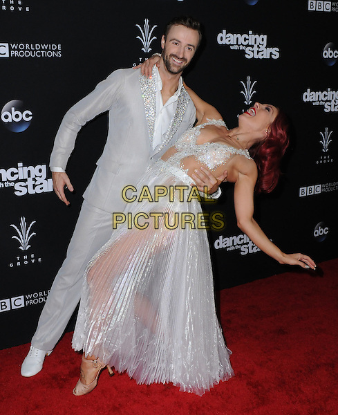 22 November 2016 - Los Angeles, California. James Hinchcliffe, Sharna Burgess. ABC's &quot;Dancing With The Stars&quot; Season 23 Finale held at The Grove. <br /> CAP/ADM/BT<br /> &copy;BT/ADM/Capital Pictures