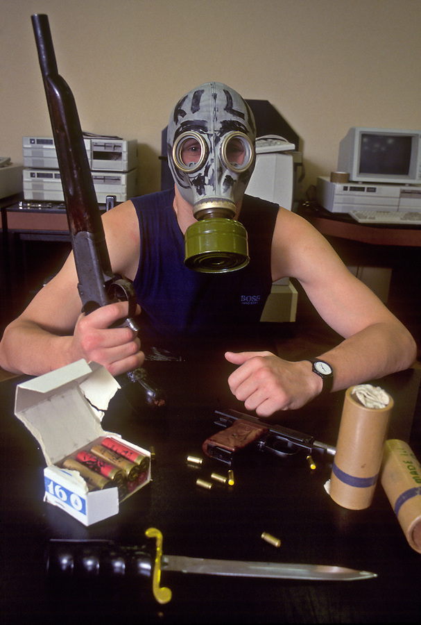 Moscow, Russia.&amp;#xA;Russia mafia member at the offices of a computer firm where he provides security.<br />