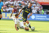 Landover, MD - August 4, 2018: Real Madrid midfielder Toni Kroos (8) makes a tackle during the match between Juventus and Real Madrid at FedEx Field in Landover, MD.   (Photo by Elliott Brown/Media Images International)