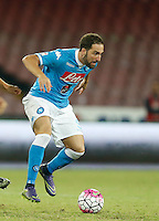 Napoli's Gonzalo Higuain  controls the ball during the  italian serie a soccer match against    Juventus,    at  the San  Paolo   stadium in Naples  Italy , September 26 , 2015