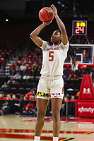 College Park, MD - March 23, 2019: Maryland Terrapins guard Kaila Charles (5) shoots the ball during game between Radford and Maryland at  Xfinity Center in College Park, MD.  (Photo by Elliott Brown/Media Images International)