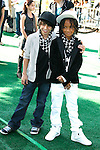 """WESTWOOD, CA. - October 26: Actors Moises Arias and Jaden Smith arrive at the premiere of Dreamworks' """"Madagascar: Escape 2 Africa"""" at the Mann Village Theater on October 26, 2008 in Los Angeles, California."""