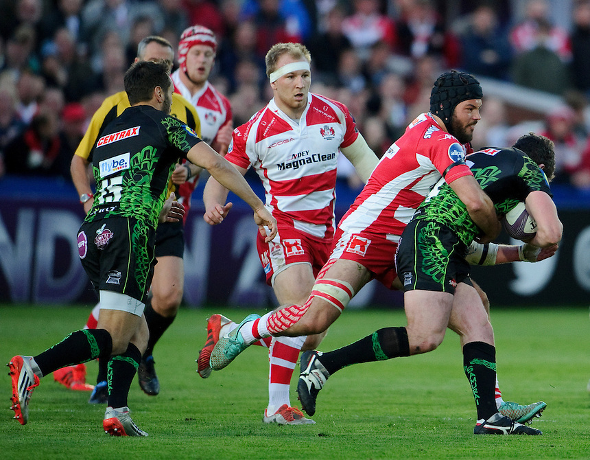 Exeter Chiefs' Ian Whitten is tackled by Gloucester Rugby's Gareth Evans<br /> <br /> Photographer Ashley Western/CameraSport<br /> <br /> Rugby Union - European Rugby Challenge Cup Semi final - Gloucester Rugby v Exeter Chiefs - Saturday 18th April 2015 - Kingsholm - Gloucester<br /> <br /> &copy; CameraSport - 43 Linden Ave. Countesthorpe. Leicester. England. LE8 5PG - Tel: +44 (0) 116 277 4147 - admin@camerasport.com - www.camerasport.com