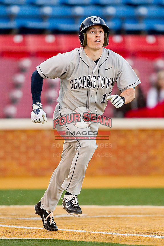 Paul Bello #17 of the Georgetown Hoyas hustles down the first base line against the Wake Forest Demon Deacons at Wake Forest Baseball Park on February 26, 2012 in Winston-Salem, North Carolina.  The Demon Deacons defeated the Hoyas 5-2.  (Brian Westerholt / Four Seam Images)