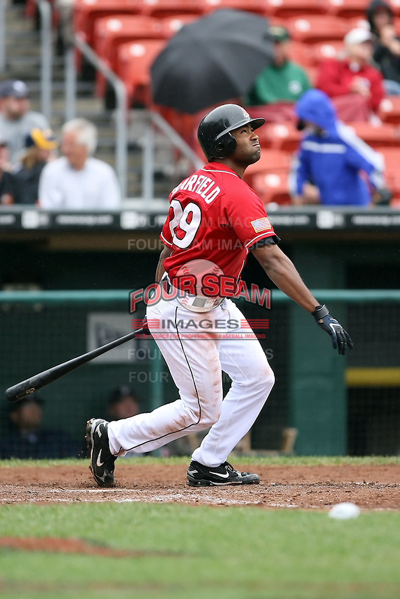 August 29 2008:  Josh Barfield of the Buffalo Bisons, Class-AAA affiliate of the Cleveland Indians, during a game at Dunn Tire Park in Buffalo, NY.  Photo by:  Mike Janes/Four Seam Images