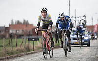 Australian Champion Miles Scotson (AUS/BMC Racing Team) chasing on the cobbles <br /> <br /> 1st Dwars door West-Vlaanderen 2017 (1.1)