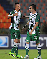 MEDELLIN - COLOMBIA - 07-09-2013: Fernando Uribe (Izq.) y Alejandro Bernal (Der.) jugadores del Atletico Nacional celebran gol anotado durante el partido en el estadio Atanasio Girardot de la ciudad de Medellin, septiembre 7 de 2013. Atletico Nacional y Deportes Quindio durante partido por la quinta fecha de las de la Liga Postobon II. (Foto: VizzorImage / Luis Rios / Str).  Fernando Uribe (L) and Alejandro Bernal (R), players of Atletico Nacional celebrate a goal scored during a math in the Atanasio Girardot Stadium in Medellin city, September 7, 2013. Atletico Nacional and Deportes Quindio in a match for the fifth round of the Postobon II League. (Photo: VizzorImage / Luis Rios / Str).