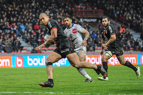 28.02.2016. Toulouse, Frace. Top14 rugby union league, Toulouse versus Montpellier. Try scored by Paul Perez (st))