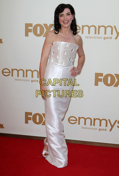Julianna Margulies (wearing Armani Prive).63rd Primetime Emmy Awards - Arrivals Held at The Nokia LA Live, Los Angeles, California, USA..September 18th, 2011.emmys full length dress white strapless hand on hip.CAP/ADM/KB.©Kevan Brooks/AdMedia/Capital Pictures.