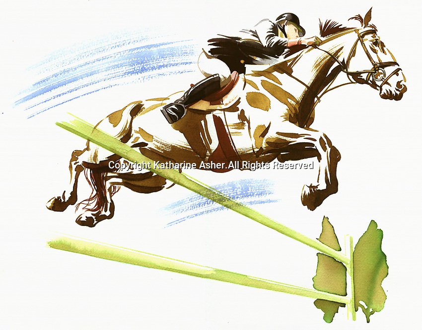 Woman riding horse jumping over fence
