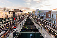 Astoria, New York - 11 March 2016 Elevated Subway tracks run through western Queens for the Q and N trains.