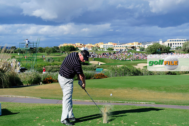 Richard Finch (ENG) tees off the par3 13th tee during Sunday's Final Round of the Portugal Masters at the Oceanico Victoria Golf Course, Vilamoura, Portugal 14th October 2012 (Photo Eoin Clarke/www.golffile.ie)