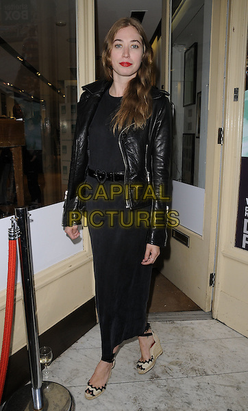 Anoushka Beckwith .at the Shelterbox Celebrity Pop Up Shop Launch Party,  Regent Street, London, England, UK, 9th June 2011..full length heart belt black long maxi dress leather jacket  wedges .CAP/CAN.©Can Nguyen/Capital Pictures.