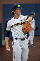 Michigan Wolverines pitcher Jack Weisenburger (48) warms up before the NCAA baseball game against the Michigan State Spartans on May 7, 2019 at Ray Fisher Stadium in Ann Arbor, Michigan. Michigan defeated Michigan State 7-0. (Andrew Woolley/Four Seam Images)