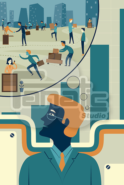 Illustration of businessman with bubble representing future vision