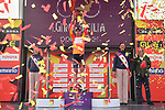 Brandon McNulty (USA) Rally UHC Cycling wins the overall genaral classification on the podium at the end of Stage 4 of Il Giro di Sicilia 2019 running 119km from Giardini Naxos to Mount Etna (Nicolosi), Italy. 6th April 2019.<br /> Picture: LaPresse/Massimo Paolone | Cyclefile<br /> <br /> All photos usage must carry mandatory copyright credit (&copy; Cyclefile | LaPresse/Massimo Paolone)