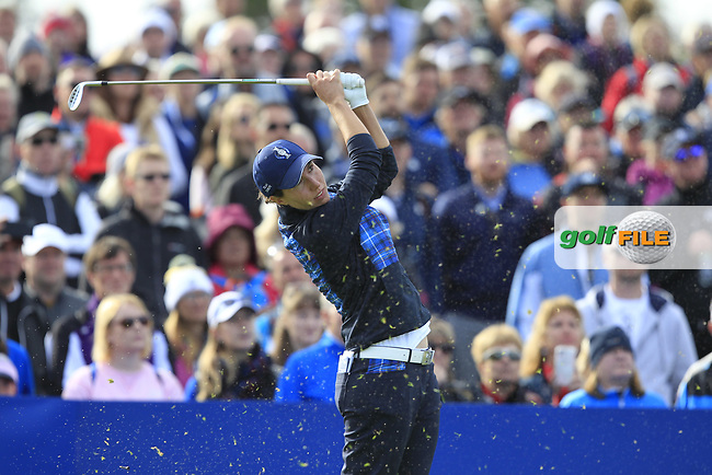 Carlota Ciganda of Team Europe on the 10th tee during Day 1 Fourball at the Solheim Cup 2019, Gleneagles Golf CLub, Auchterarder, Perthshire, Scotland. 13/09/2019.<br /> Picture Thos Caffrey / Golffile.ie<br /> <br /> All photo usage must carry mandatory copyright credit (© Golffile | Thos Caffrey)