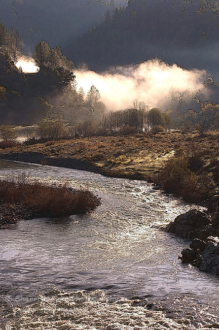 Digital art of early morning fog over the confluence of the north and middle forks of the American River created from a original photograph