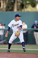 Ray Hernandez of the Cal.St. Fullerton Titans during game against the UCLA Bruins at Jackie Robinson Stadium in Los Angeles,California on June 12, 2010. Photo by Larry Goren/Four Seam Images