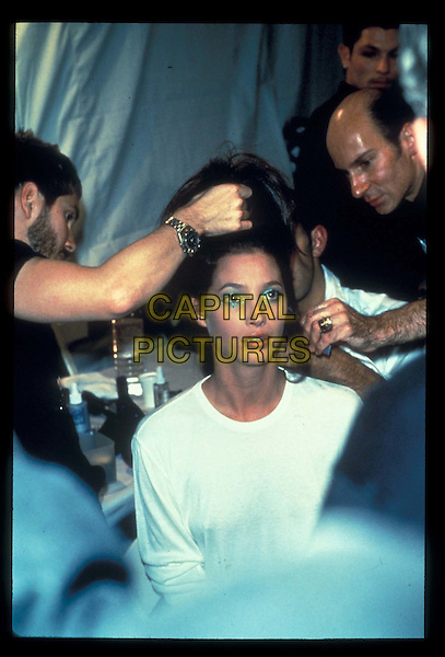 CHRISTIE TURLINGTON.backstage at fashion show, hair, make-up, christy.*RAW SCAN- photo will be adjusted for publication*.www.capitalpictures.com.sales@capitalpictures.com.©Capital Pictures