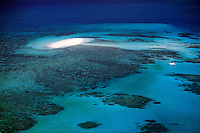 Beautiful Great Barrier Reef from plane near Cairns Queensland Australia