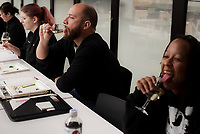 NWA Democrat-Gazette/CHARLIE KAIJO Tanner Bedwell of Bentonville and Lyndia Burgess of Bentonville (from left) taste the sweetness of a wine during a wine tasting class, Monday, November 5, 2018 at Brightwater in Bentonville.<br />