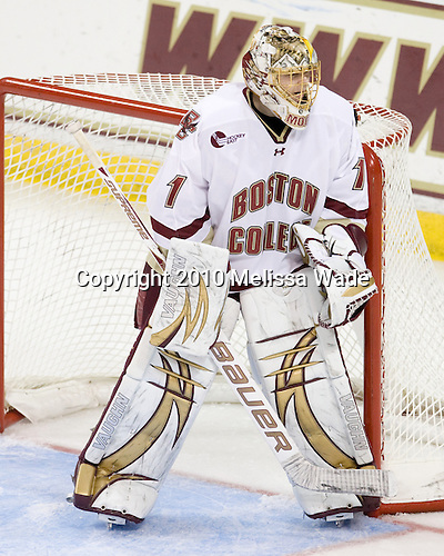 John Muse (BC - 1) - The Boston College Eagles defeated the visiting Merrimack College Warriors 3-2 on Friday, October 29, 2010, at Conte Forum in Chestnut Hill, Massachusetts.