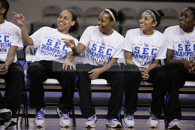 Seniors Amber Smith, Crystal Riley, and Keyla Snowden watch a video recapping the year during the Kentucky Women's celebration of winning the SEC regular season championship 2/26/12 at Memorial Coliseum in Lexington, Ky. Photo by Quianna Lige | Staff