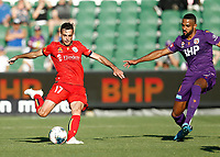 11th January 2020; HBF Park, Perth, Western Australia, Australia; A League Football, Perth Glory versus Adelaide United; Nikola Mileusnic of Adelaide United has a shot from outside the box - Editorial Use
