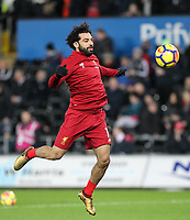 Mohamed Salah of Liverpool ahead of the Premier League match between Swansea City and Liverpool at the Liberty Stadium, Swansea, Wales on 22 January 2018. Photo by Mark Hawkins / PRiME Media Images.