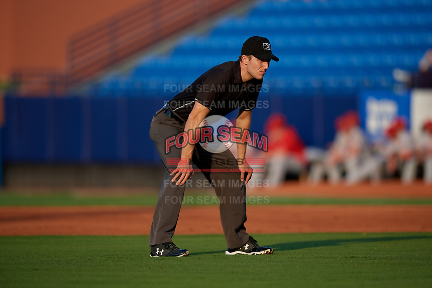 Umpire John Benken during a Florida State League game between the Florida Fire Frogs and St. Lucie Mets on April 12, 2019 at First Data Field in St. Lucie, Florida.  Florida defeated St. Lucie 10-7.  (Mike Janes/Four Seam Images)