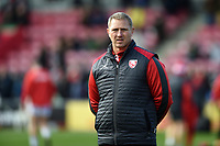 Gloucester Rugby Head Coach Johan Ackermann looks on during the pre-match warm-up. Gallagher Premiership match, between Harlequins and Gloucester Rugby on March 10, 2019 at the Twickenham Stoop in London, England. Photo by: Patrick Khachfe / JMP