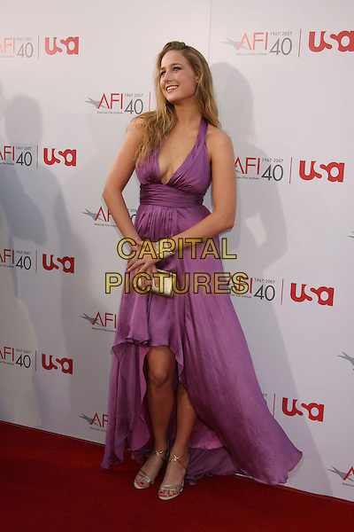 LEELEE SOBIESKI.35th AFI Life Achievement Award Honoring Al Pacino held at the Kodak Theatre, Hollywood, California, USA..June 7th, 2007.full length purple cleavage halterneck plunging neckline dress silver shoes bracelet clutch purse .CAP/ADM/RE.©Russ Elliot/AdMedia/Capital Pictures