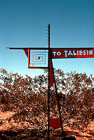 F.L. Wright: Taliesin West. Sign at turn-off road.  Photo '77.