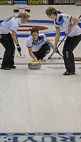 Glasgow. SCOTLAND. Scotland's Vicki ADAMS, just after Guiding and releasing the &quot;Stone&quot; over the &quot;Hog Line&quot; at the Le Gruy&egrave;re European Curling Championships. 2016 Venue, Braehead  Scotland<br /> Sunday  20/11/2016<br /> <br /> [Mandatory Credit; Peter Spurrier/Intersport-images]