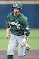 Michigan State Spartans second baseman Dan Durkin (9) rounds second base against the Michigan Wolverines on May 19, 2017 at Ray Fisher Stadium in Ann Arbor, Michigan. Michigan defeated Michigan State 11-6. (Andrew Woolley/Four Seam Images)