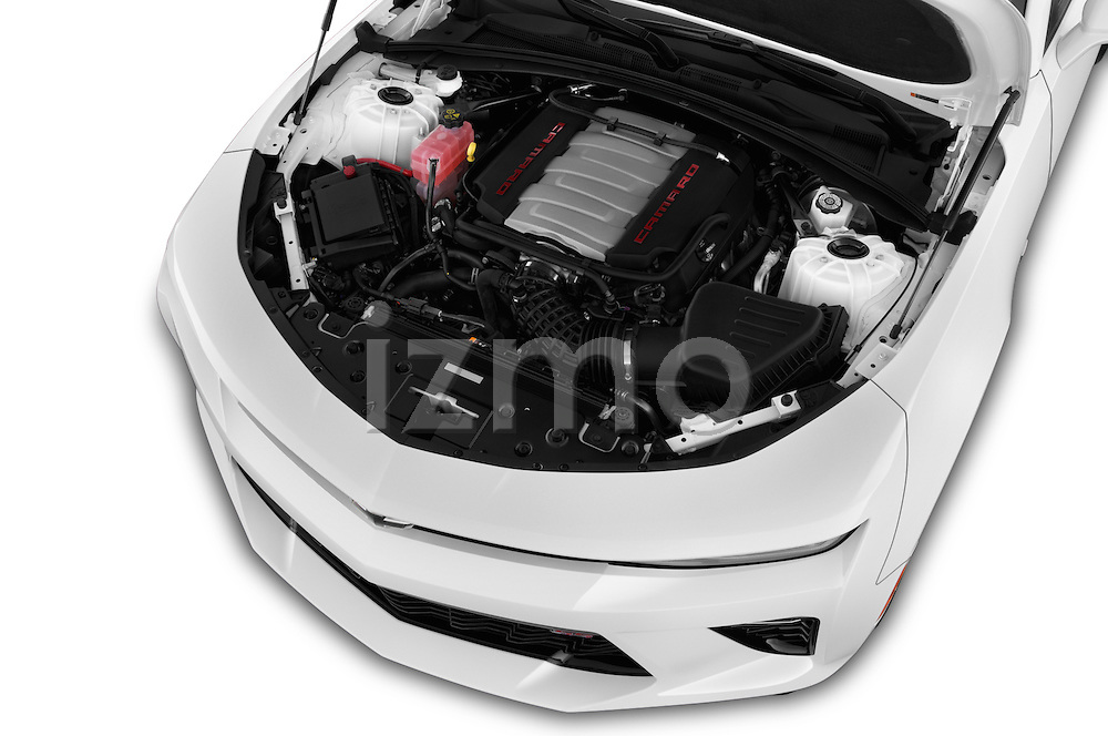 Car Stock 2018 Chevrolet Camaro 2SS 2 Door Coupe Engine  high angle detail view