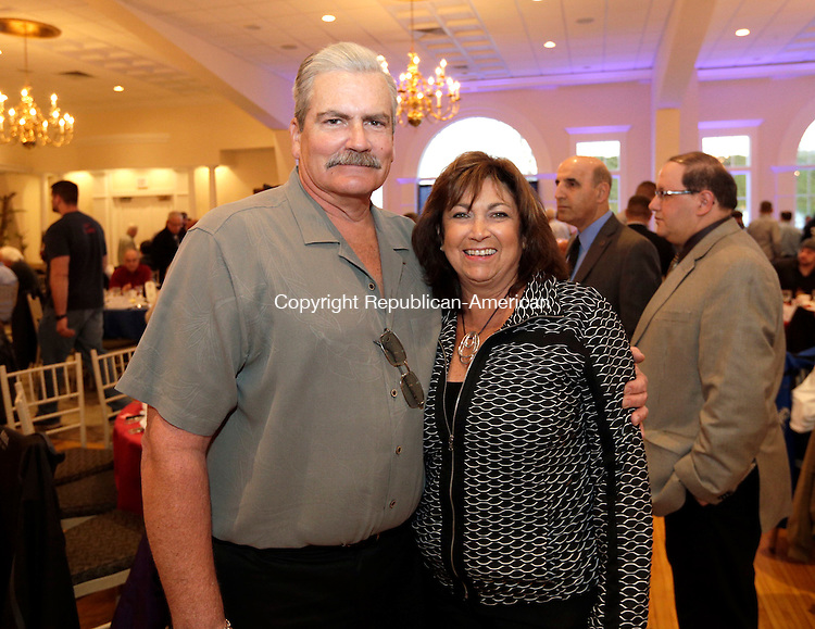 Southington, CT- 18 March 2016-031816CM09- SOCIAL MOMENTS.  From left, Michael and Cindy Lawson with the Prospect Gun Club are photographed during the 24th annual Friends of the NRA dinner at the Aqua Turf in Southington on Friday.  Christopher Massa Republican-American
