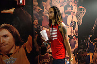 Jun. 10, 2013; Phoenix, AZ, USA: Phoenix Mercury center Brittney Griner walks through a hallway towards the locker room inside the US Airways Center. Mandatory Credit: Mark J. Rebilas-