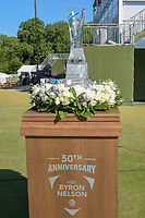 The trophy for winning the 50th Anniversary AT&amp;T Byron Nelson sits on the first tee during round 1 of the AT&amp;T Byron Nelson, Trinity Forest Golf Club, at Dallas, Texas, USA. 5/17/2018.<br /> Picture: Golffile | Ken Murray<br /> <br /> <br /> All photo usage must carry mandatory copyright credit (&copy; Golffile | Ken Murray)
